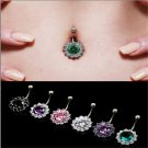 Fashion Flower Steel Crystal Navel Belly Ring Button Bar Body Piercing Jewelry