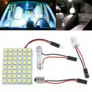 12V White 48 SMD 5050 LED Light Car Interior Lamp Panel T10 Festoon Dome BA9S FT