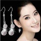 1 Pair Fashion Women Silver Plated Crystal Ear Stud Earrings Hook Dangle Jewelry