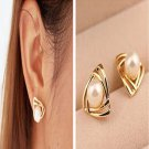 Elegant Lovely Triangle Pearl Ear Stud Fashion Personality Earrings Gift Jewelry