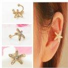 1PC Elegant Crystal Starfish Women Personality Charm Ear Clip Cuff Earring Stud