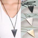Retro Punk Silver Gold Black Simple Triangle Long Chain Pendant Necklace FT16