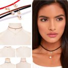 Gothic Women Fashion Jewelry Velvet Choker Pearl Rhinestone Two Layers Necklace
