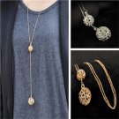 2016 fashion Woman Ladies Double Hollow Ball Pendant Long Chain Necklace Jewelry