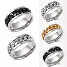#7-#11 Silver/Black/Gold Rotatable Chain Stainless Steel Men's Wedding Band Ring