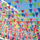 10m DIY Fashion Party Rainbow Bunting Large Kids Birthday Outdoor Flags Banner F