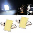 2PCS 31mm 12SMD COB White LED DE3175 Bulbs For Car Interior Dome Map Lights New