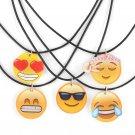 Fun Cute Emoji Face Charm Leather Bib Statement Choker Chain Pendant Necklace FT