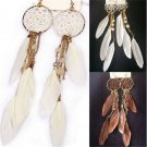 Women's Sexy Bohemia Feather Beads Long Design Dream Catcher Earrings Jewelry