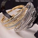 Sexy Fashion Women's Rhinestone Crystal Hoop Round Big Earrings Ear Stud Jewelry