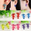 Sexy Women 3D Kitten Charm Puncture Ear Stud Cat Piercing Earrings Jewelry Gift