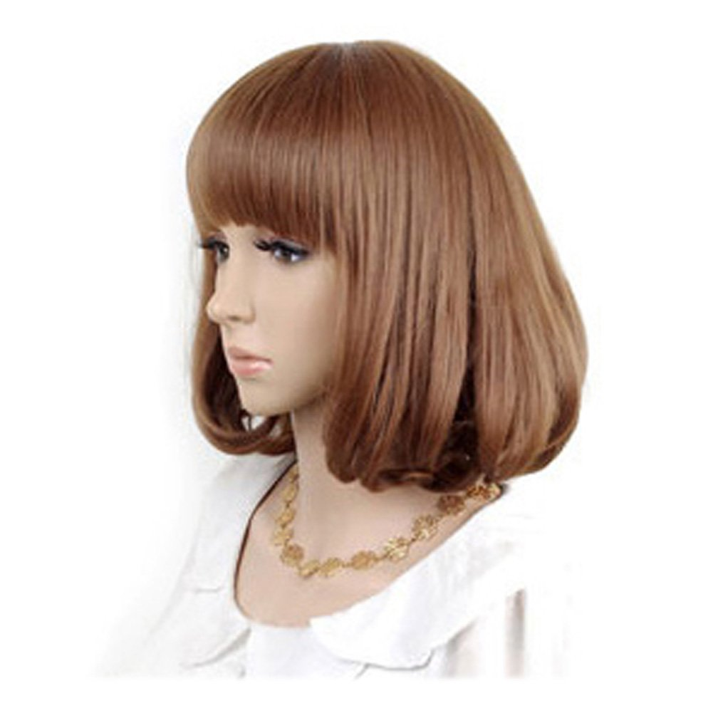 Cute High Quality Fashion Sweet Lady Wig Short Hair Natural Bob Linen: Wig Cap: Comb