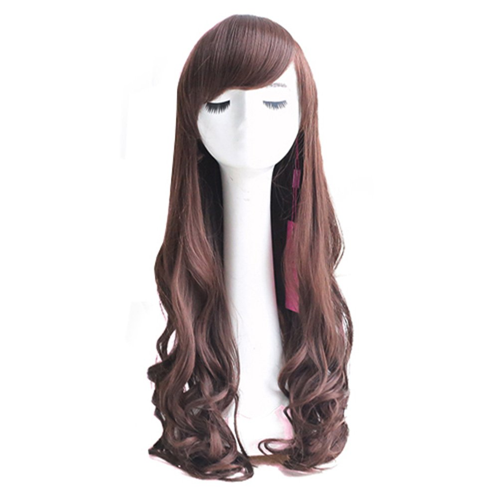 Curly Wavy Glamour Brown Long Hair Wig Fashion Bob: Wig Cap: Wig Comb