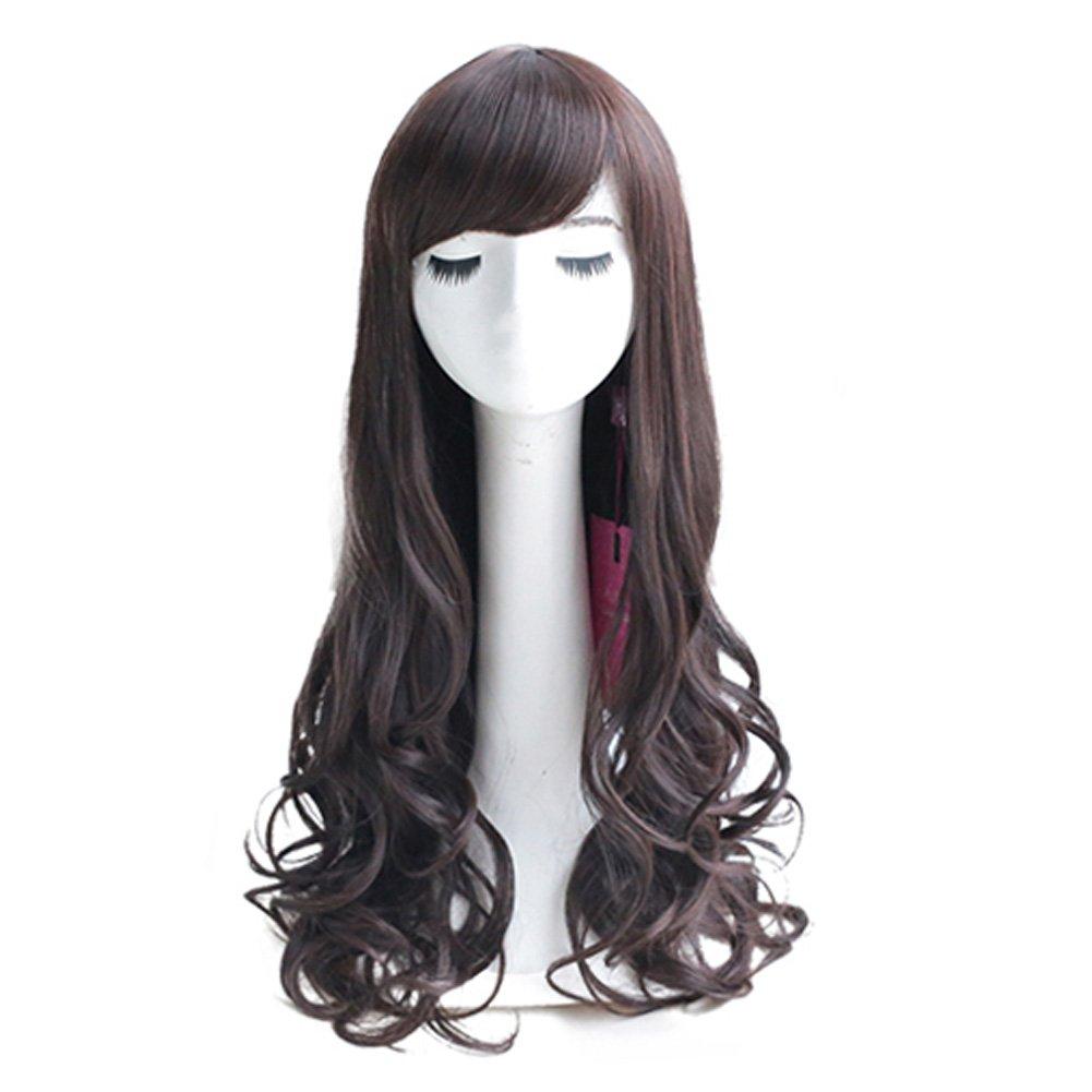 Curly Wavy Glamour Dark Brown Long Hair Wig Fashion Bob: Wig Cap: Wig Comb