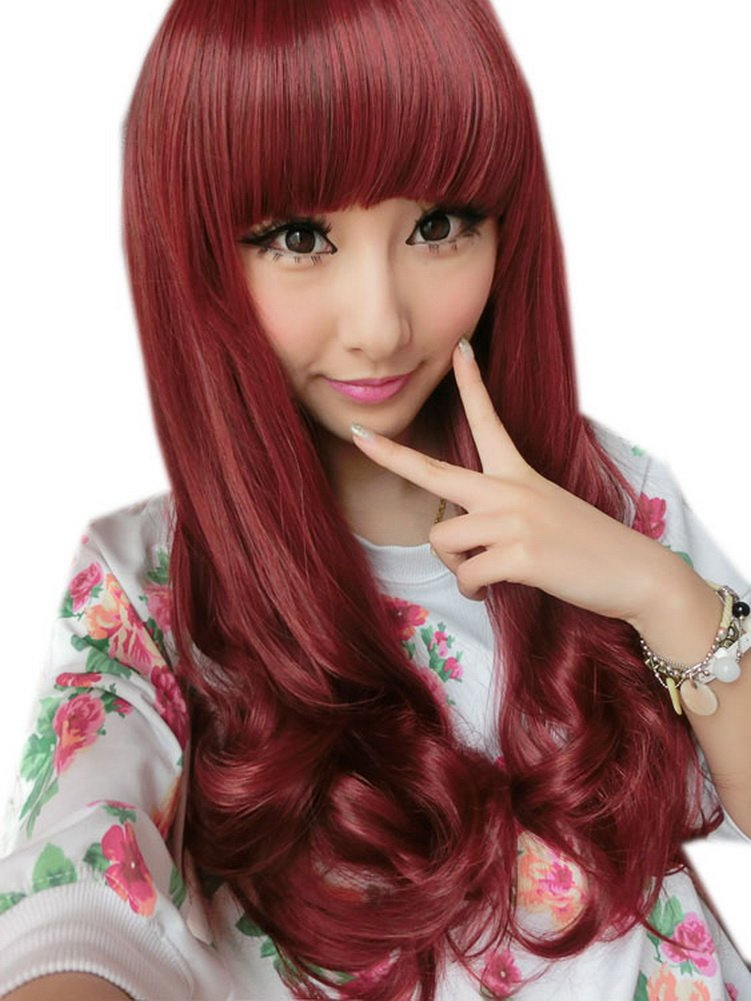 Girly Curly Long Wig for Women Red Hair Weave