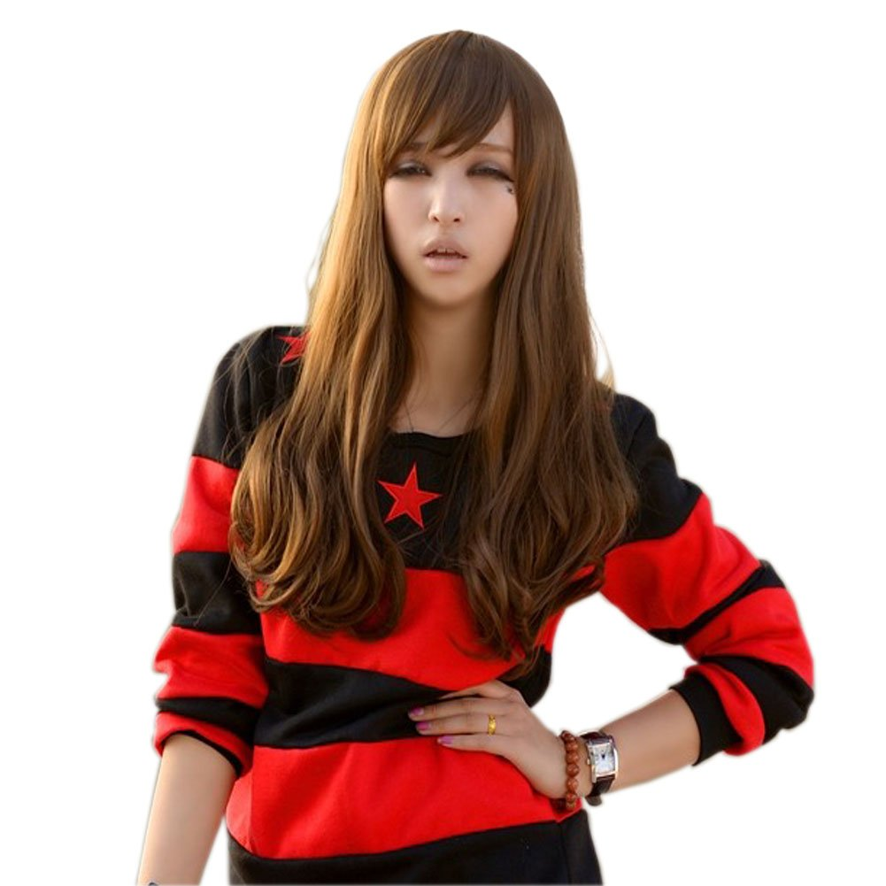 Girly Lovely Beautiful Long Curl Wave Fluffy Healthy Wigs Full Human Wigs Flaxen Cyan