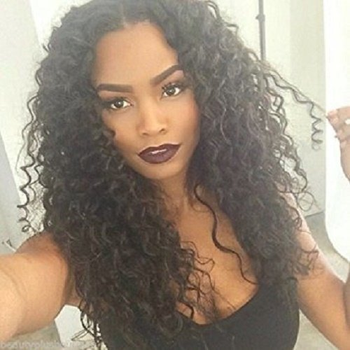 """100% Brazilian Virgin Kinky Curly Human Natural Black Color Middle Part Hair Lace Front Wig (10"""")"""