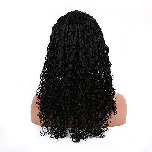Cute 1# Color Small Curl Brazilian Human Virgin Hair Lace Front Wig 16 inch