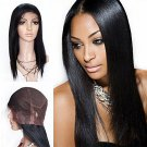 7A Brazilian Virgin Human Handmade Human Hair Full Lace Wigs Straight Color #1 24 inch