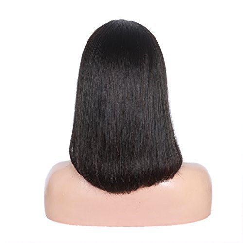 100% Brazilian Silk Straight Human Hair Lace Front Wig Bob Style with Baby Hair 10 inch