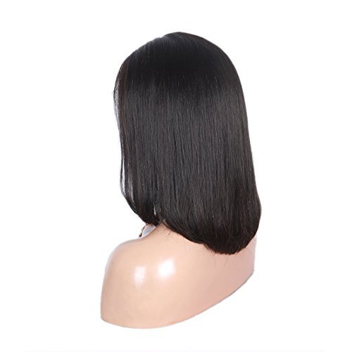 100% Brazilian Silk Straight Human Hair Lace Front Wig Bob Style with Baby Hair 16 inch