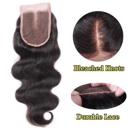 Unprocessed Brazilian Human Hair Body Wave Top Closure Lace Bleached Knots with Baby Hair 14""