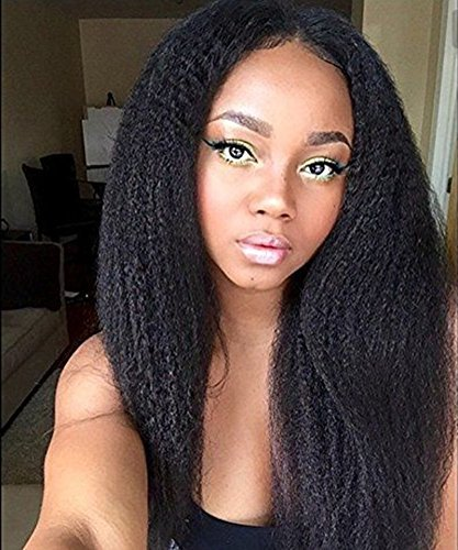 Kinky Straight 100% Unprocessed Virgin Brazilian Natural Color Smooth Human Hair Full Lace Wig 24""