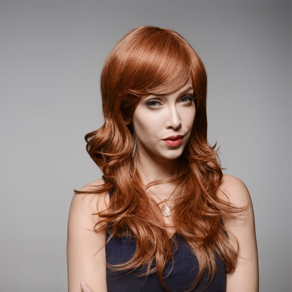 Long Wave Capless Brown Virgin Human Hair Curly Wig Side Bang Remy Mono Top 60cm/23.62 inches
