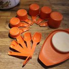 Vintage Tupperware orange measuring cup set (complete), 6 spoons & cutting tray