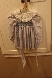 Vintage Polly Flinders dress size 4. Hand smocked, emboidered collar.