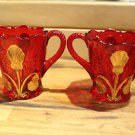 Mosser Glass Thistle Sugar Bowl and Creamer Set Ruby Red & 24K Gold Leaf