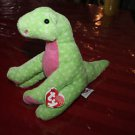 Ty Pluffie Stomps green pink dinosaur with tags.