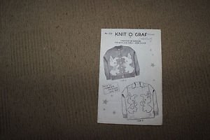 Vintage knitting pattern Knit O Graph. Children's cardigan pullover. Bunnies