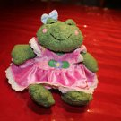 "GUND Plush Frog ""Ribberta"". Dress, backpack & attached flower."