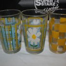 3 unmarked Vintage drinking glasses Blue yellow plaid white flower yellow check
