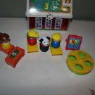Fisher Price Play n go Lunchbox, teacher, students, desks, easel, merry-go-round