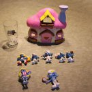 Peyo Smurf lot. House, drinking glass, figures, figurines, some vintage.