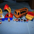 Vintage 8 Little tikes little people, 4 vehicles.