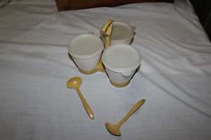 3 Vintage Tupperware condiment containers, with lids, carry tray and 2 spoons