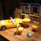 Barbie Mattel Bakery Cafe, Corvette, 1994. Vintage table, 2 chairs, cash registe