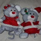 2 Vintage Fisher Price Puffalump Gray Christmas Mice 8029 & 8034 1988. HTF