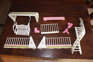 Vintage Barbie Glamour house parts. Swing, awning, balcony railings, corner post