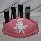 Vintage pink white cherub Trelawney of Canada hard plastic lipstick holder