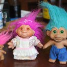 3 Vintage Troll dolls. 1986, 1991 curlers woman man child, clothing Russ DAM TNT