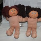 Two 25th Anniv. Cabbage Patch Kids dolls. Brown hair & dark brown hair. Nude