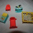 Vintage 5 Fisher Price Little People Nursery toys change table, rocker, playpen