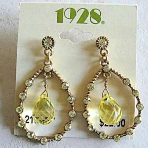 1928 Jewelry Jonquil Teardrop Dangle Post Style Pierced Earrings