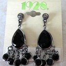 1928 Jewelry Midnight Black Fringe Chandelier Post Style Pierced