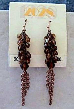 2028 Jewelry Smoked Topaz Chandelier Copper Pierced Earrings