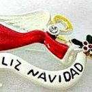 Angel Feliz Navidad Holiday Pin Brooch Christmas Jewelry